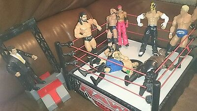 WWE Wrestling Toy Figure Bundle With Ring & Accessories mattel and jakks