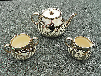 Vintage Gibsons Silvered Teapot, Sugar and Milk