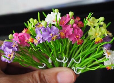 10 Pcs Miniature Handmade Colorful Vanda Miss Joaquim ORCHID Clay Flower Decor