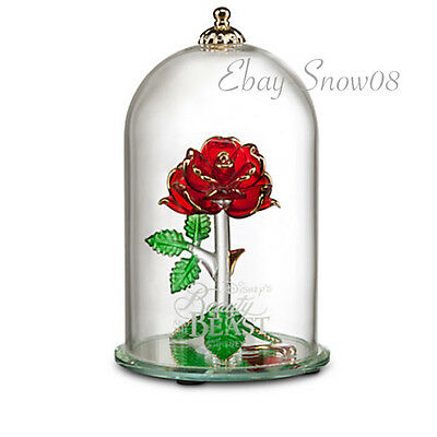 Beauty and the Beast Enchanted Rose Glass Sculpture Arribas Large New In Box