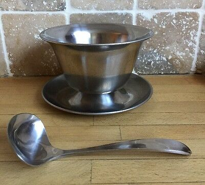 Lundtofte Danish Stainless Steel Sauce/Gravy Boat And Spoon Mid Century Modern