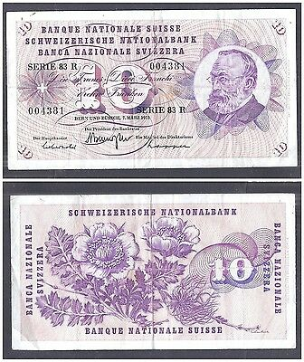 Switzerland 10 Franken 1973 in (F-VF) Condition Banknote