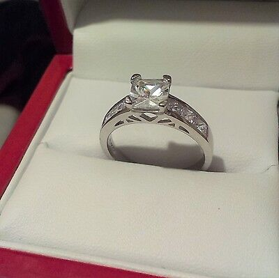1.00 ct Princess cut solitaire engagement ring Silver Hallmarked 925. size M  #1