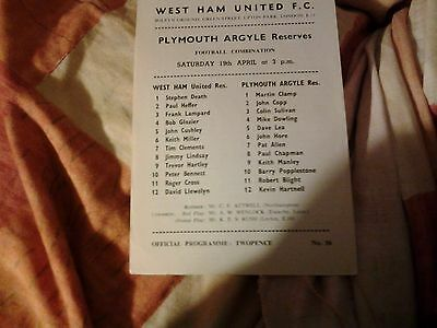 west ham v plymouth RESERVES 68.69 football combination