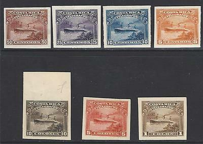 Costa Rica (G320) TELEGRAPH,SHIP, PLATE PROOFS IMPERF on PAPER or CARD 1910