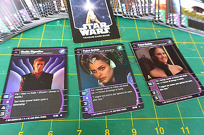 RARE WOTC Star Wars Trade Cards 2002 Lucasfilm Lot x96 &Game Rules Poster &Foils