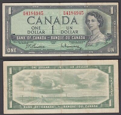 Canada 1 Dollar 1954 (1961-72) at (VF) Condition Banknote P-75b