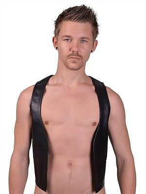 Real Leather Muscle Vest Red Striped Gay Bluf Lederweste Mister B 100% Leather