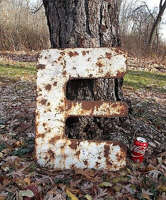 "Vtg Big Large Industrial Steam Punk Rusty Rustic Metal Letter ""E"" Sign 24"" Tall"