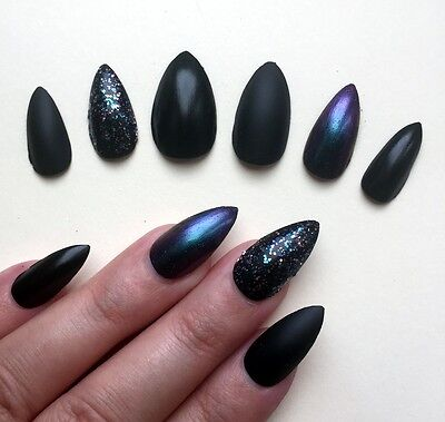 Hand Painted False Nails STILETTO (or ANY SHAPE) Black Matte/Gloss Metallic UK