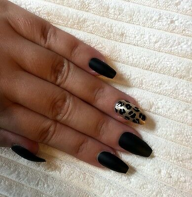 Hand Painted False Nails COFFIN Full Cover. Matte Black and Leopard Print. UK