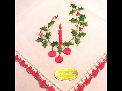 NEW Old Stock CHRISTMAS Handkerchief w/Handmade Crochet Edge & Switzerland Tag