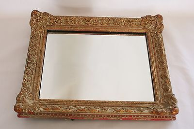 Antique Wooden Frame Wall Mirror - Elaborate Moulding - Distressed / Shabby Chic