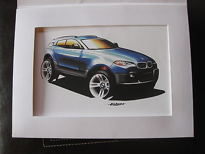 BMW Concept Sketch Drawing Ad X3 SUV Car Collector Item New In Folder