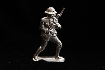 """Pewter or Lead Soldier - 3 1/4"""" and 4 Oz - Military - Weapon - War - Fighting"""