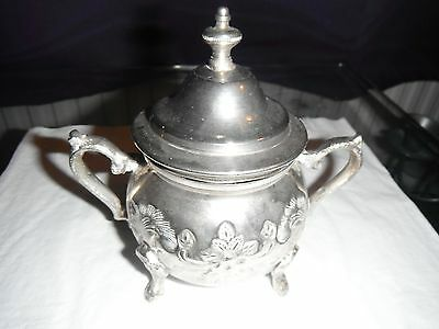 Vintage Silver Plated Sugar Bowl marked  on bottom size 4ins x 5 ins