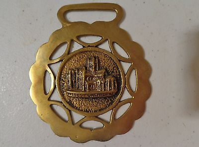 Antique English Wells Cathedral Peerage Horse Brass Ornament
