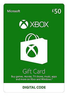 Xbox £50 gift card for Xbox one/360 and windows pc
