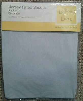 New 2 Pack Lollipop Lane Jersey Fitted Sheets Moses Basket Blue 30 x 68 cm