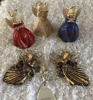Christmas Ornaments Vintage Angels Lot Of 5