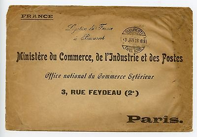 Romania 1906 cover to France from Legation de France with consular (H698)