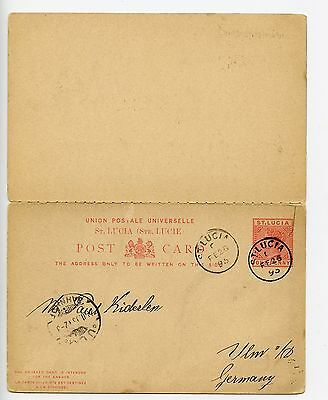St Lucia 1895 postal staionery reply postcard used to Germany with return (J375)