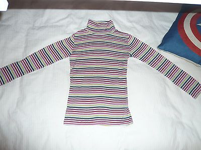 Next Girls Polo Neck Top Age 8 Years Grey Multi Striped