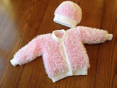 Hand Knitted Fur Cardigan And Hat For Newborn/ Reborn Baby 19-20 Inch