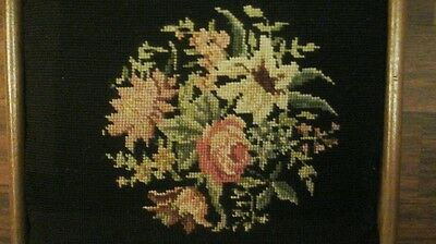 Vintage Foot Stool Ottoman Embroidered Needle Point, Flowers ,wood Bench