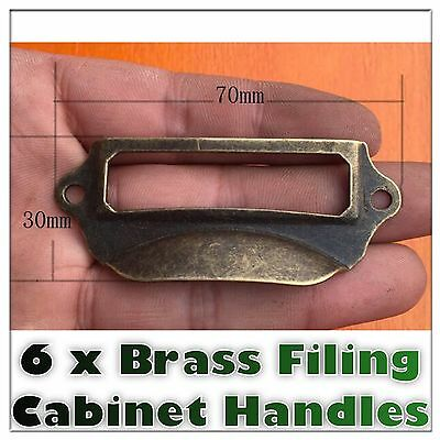 Set Of 6 Brass Filing Cabinet Label Handles File Drawer Handle Furniture