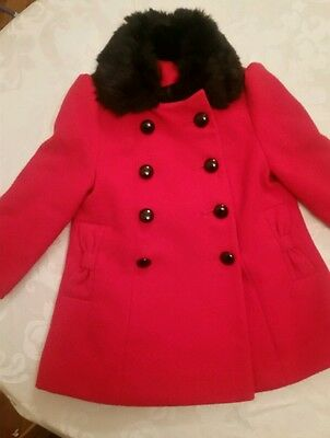 girls red military style Christmas winter coat black fur collar age 18-24months