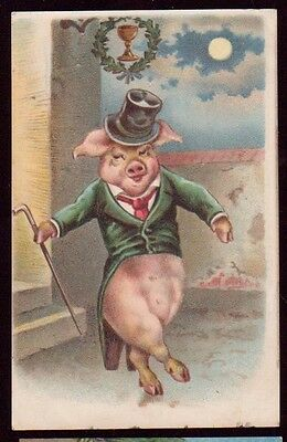 CPPC Chromolitho Jovial Pigs Dancing Misch No 1267 1910