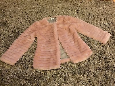 Tammy Girl/BHS Girls Pink Fur Jacket/Coat For Occasion/Party/Christmas Age 9/10