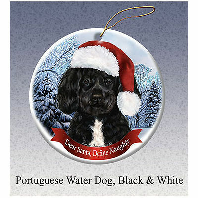 Portuguese Water Dog Howliday Porcelain China Dog Christmas Ornament