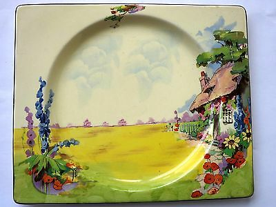 """RARE CLARICE CLIFF """"Old Somerset"""" Art Deco 1930s THE BIARRITZ  PLATE"""