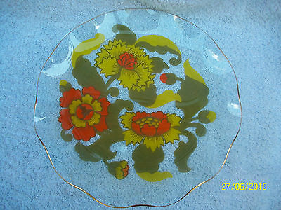 Chance Glass Plate. 1960 - 1970 s Design . Gold edge , Cake Dish, Fluted Edge