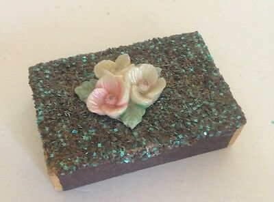 Vintage Wood Matches- Holder With Actual Plastic Flowers!!! Collectors Must See!