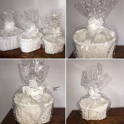 WHITE MAKE YOUR OWN HAMPER KIT 3 SIZES, inc BOWS & CELLOPHANE WICKER XMAS GIFTS