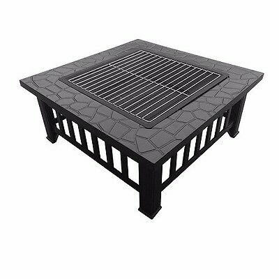 Outdoor Fireplace Garden BBQ Grill Fire Pit Heater Patio Grilling Table Steel
