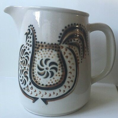 Vintage Made In Finland Arabia Pitcher With Chicken/rooster Design