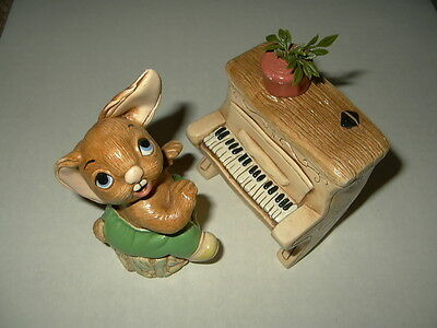 2 Pc. Vintage Early PENDELFIN Bunny Thumper & Piano - Made In England