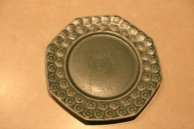 One grey stoneware side plate 16.7cms floral pattern