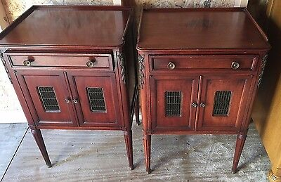 John Widdicomb: Pair of Vintage Mahogany Night Stand w/Drawer & Cabinet 1940s