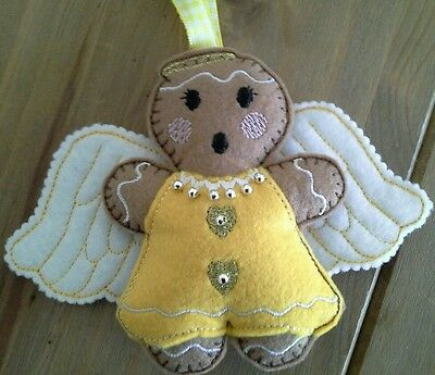 Homemade Felt Gingerbread Beaded Angel Tree Decoration Christmas  Ornament