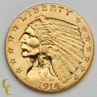 1914 $2.50 Gold Indian Head Quarter Eagle, AU Condition, Great Gold Coin!
