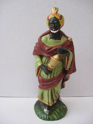 "Large Vint 12-3/4"" Nativity Wisemen King Bearing Gift Figure Composition Japan"
