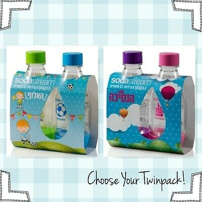 2 X SodaStream Carbonating Bottles 0.5 L Liter For Kids BPA-free Limited Edition