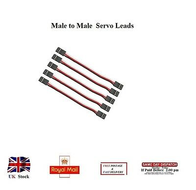 10x 30cm Servo Leads MALE to MALE Cables Wires Futaba JR Connectors 300mm RC UK