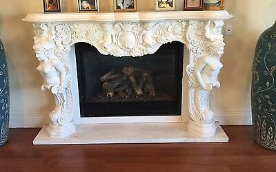 Gorgeous Antique Solid Marble Hand Carved Empire Style Fireplace Mantle