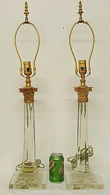 Beautiful French Pair of Bronze and Crystal Dore Table Lamps Working Condition